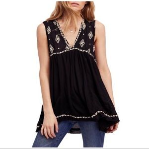 Free People Black Boho Embroidered Top